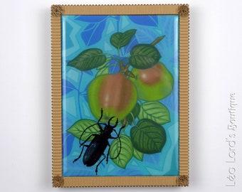 Framed 6x8in work with resin inspired by insects and flora. Scarabe and Apples