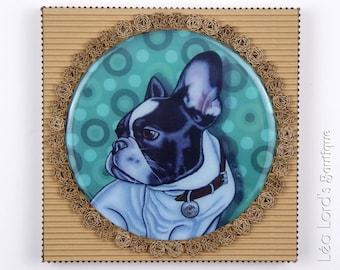 "Framed dog work with resin ""Be-Bop""."