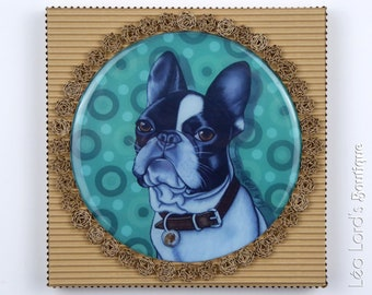 """Framed dog work with resin """"An afternoon of dog""""."""