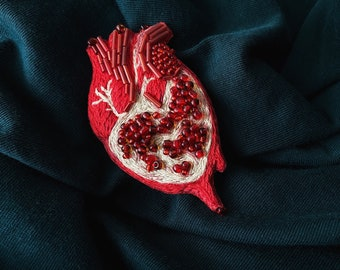 Pomegranate heart brooch / Hand embroidered brooch pomegranate / Heart beads jewelry / gift for her