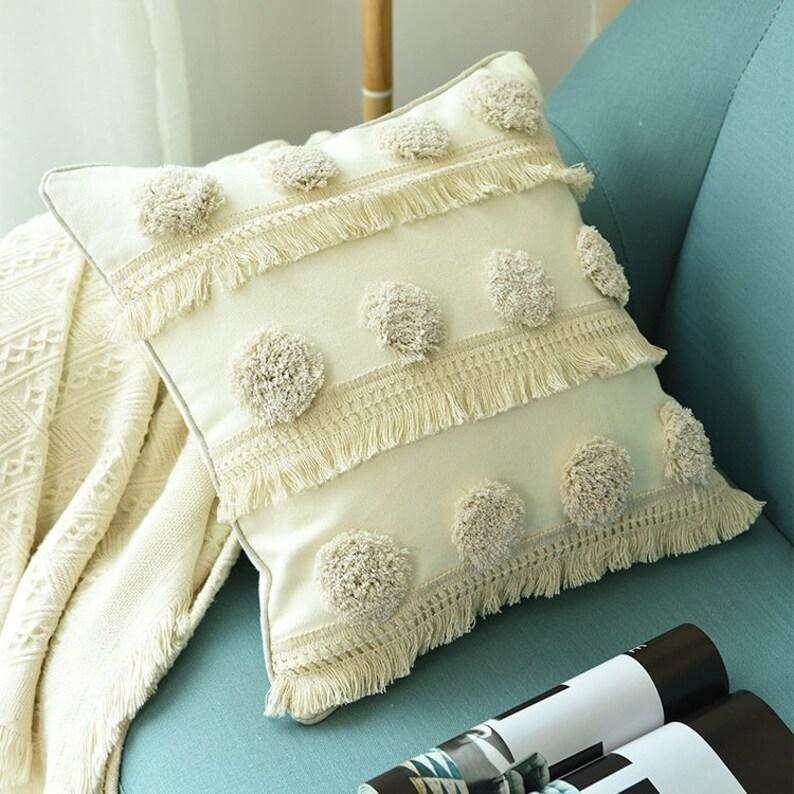 Tufted Pillow \u2022 Pillow Cover \u2022 Throw Pillow \u2022  Cushion Cover \u2022 Decorative Pillow \u2022 Boho Pillow Cover \u2022 18x18 Inches \u2022 12x20 Inches