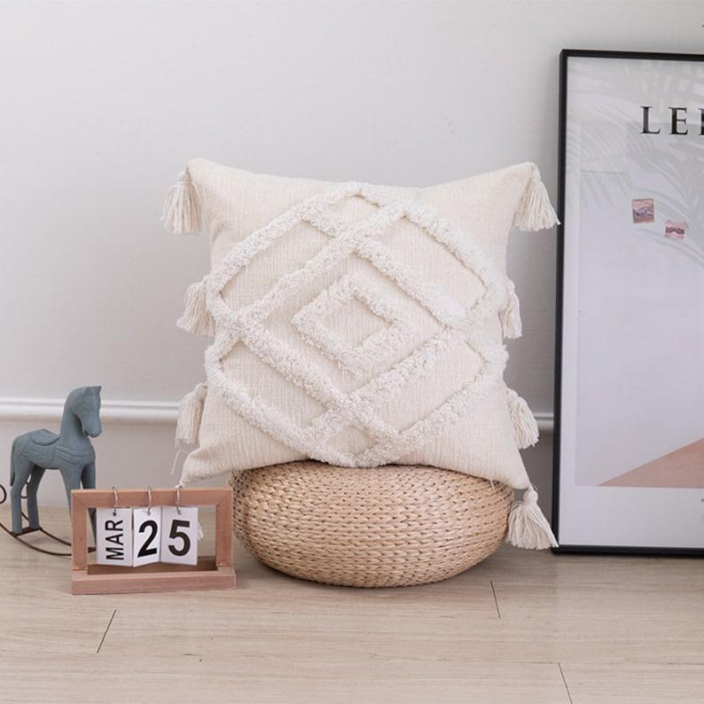 Tassel Pillow \u2022Pillow Cover \u2022 Throw Pillow \u2022  Cushion Cover \u2022 Decorative Pillow \u2022 18x18 Inches \u2022 12x20 Inches