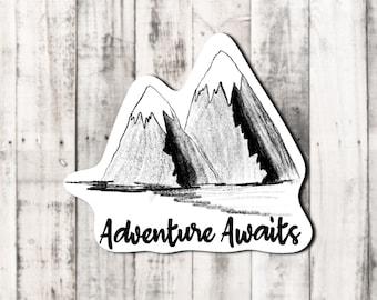 "Spring ""Adventure awaits"" mountain sticker"