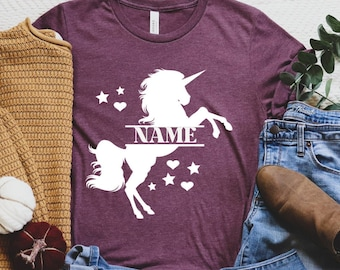 Custom Unicorn Name Shirt, Unicorn Shirt, Unicorn Lover T-Shirt, Birthday Girl Gift, Custom Unicorn Tee, Unicorn TShirt