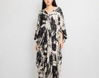 long maxi dress flowy casual dress cocktail night dress abaya black dress tie dye loungewear set Hand dyed kaftan dress elegant dress