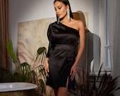 Black Satin One Shoulder Dress, Mini Satin Dress, Special Occasions Dress, Wedding Guest Dress, Assymetric One Shoulder Dress, Black Mini