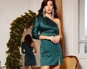 Emerald Green Satin One Shoulder Dress, Mini Satin Dress, Special Occasions Dress, Wedding Guest Dress, Assymetric One Shoulder Dress
