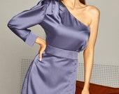 Satin One Shoulder Dress, Mini Satin Dress, Special Occasions Dress, Wedding Guest Dress, Assymetric One Shoulder Dress