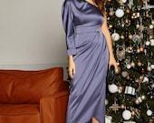 Satin One Shoulder Dress, Midi Satin Dress, Special Occasions Dress,Satin Cocktail Dress, Midi Evening dress