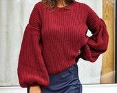 Burgundy Sweater for Women, Knit Burgundy Sweater, Wine Sweatshirt for Women, Oversized Knit Sweater, Dropped Shoulder Sweater for Women