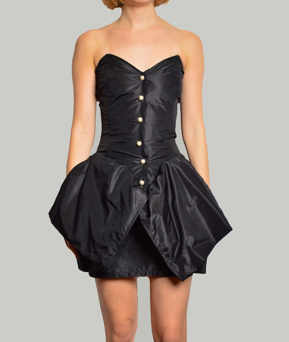 EMANUEL UNGARO strapless black cocktail dress
