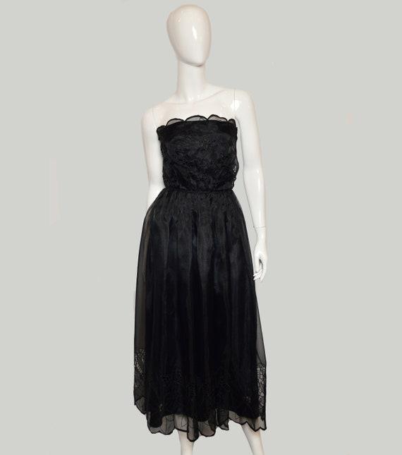 1970's black organza strapless dress