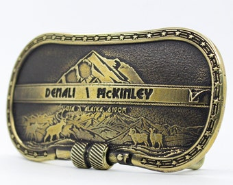 Denali Fastener Mountain Travel Buckle,North America/'s Highest Mountain.Travel Alaska,Mountain peaks USA Belt Buckle Brass Climber Buckle