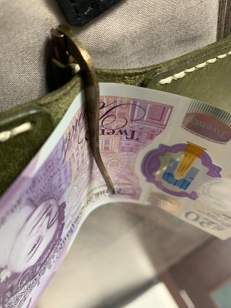 Unisex gifts Card holder Money clip Vegetable tanned leather wallet Wallet Boyfriend valentines day gift Brown money clip