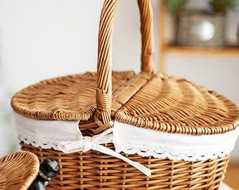 Handmade Wicker Basket Camping Picnic Basket