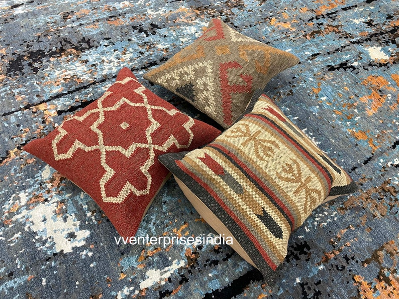 Set of 3 outdoor kilim cushion Rustic handmade rug cushion cover Vintage kilim pillow kilim pillow cover 18x 18 pillow cover