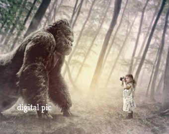 Digital Art Photo Ape Picture Photography Ape with Small Girl