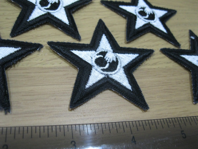 truck driver blue collar badge sew or iron on embroidered Americana NS 5 unusual black silver stars vintage patches industrial