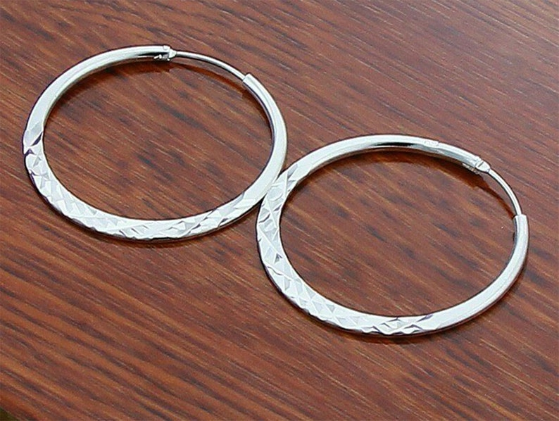 Gift For Her Large 50mm Round Vogue Hoop Earrings Womens 925 Sterling Silver Diamond Cut Jewelry Gift For Women Girlfriend or Lover