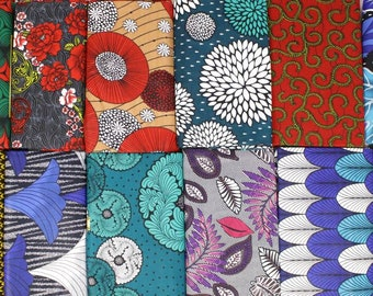 Fat Quarter Bundle, 4 Assorted African Print Fabric Teal - 100% cotton, Craft Making, Quilting, Patchwork, African stoffe Wax print