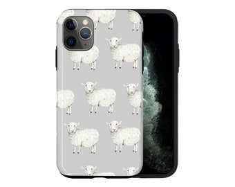 New cute sheep and hearts pattern art clear rim hard back phone case fits  all apple iPhone models.