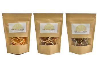 Dehydrated fruit x 3 36g packs. Dried Mixed citrus, Orange, lemon or lime. Cocktail and mocktail garnish. Cake toppers and decor.