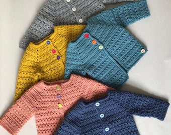 Ready to ship now Vintage Style Jacket jacket for a baby boy blue hand knitted baby cardigan for 0-3 months old baby boy