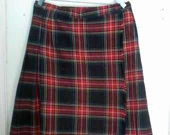 Vintage Red Tartan Plaid Kilt Skirt