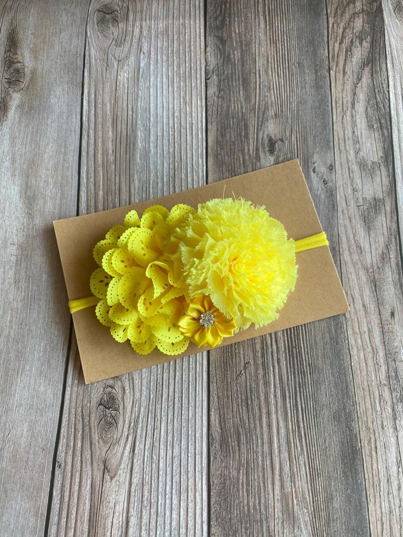 girl headband Easter headband baby girl bow headbands yellow bow baby headband Yellow headband bows flower headband