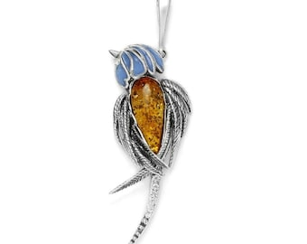 Sterling Silver handmade vintage pendant with baltic amber drops jewelery gift for Mom Wife Sister Mother Mothers Mother/'s Day