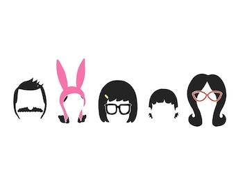 Belcher Family Silhouette SVG / Bob, Louise, Tina, Gene, Linda/ Bob's Burgers