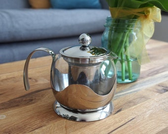 650ml Modern Glass Infuser Teapot For Loose Leaf Teas Silver Stainless Steel Infuser Teapot Stylish Modern Teapot