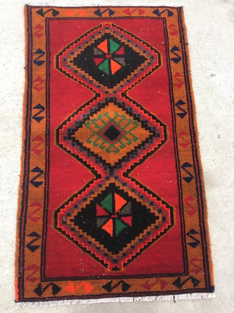 Small Rug Vintage Turkish Rug 1.8x3.1 ft Entry Rug Tribal Rug Antique Rug Handwoven Rug Oriental Rug Bedroom Rug Bathroom Rug Gifts for Mom