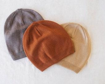 Boho cashmere slouchy beanie - terracota camel gray beanies - soft warm cashmere blend - lightweight - elegant classic style - comfortable