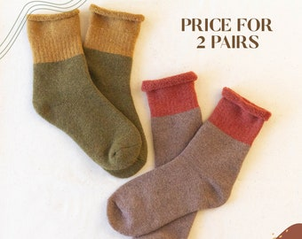 SET OF 2 PAIRS - Butter soft Cotton-Cashmere blend socks. Winter warm high quality cozy no itchy thick gift socks. Cold weather woman socks