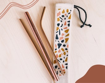 Set of 3 Stainless Steel Straws | Metal Straws | Party Straws | Eco Friendly Straw Reusable Straw | Free Cleaning Brush | Environment