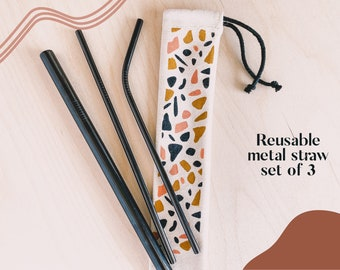 Set of 3 Stainless Steel Straws   Metal Straws   Party Straws   Eco Friendly Straw Reusable Straw   Free Cleaning Brush   Environment