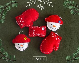 Felt Ornaments - PACK OF 5 - felt ornaments for christmas - Christmas tree decor - Cute holiday ornaments - ornaments set - ornaments kits