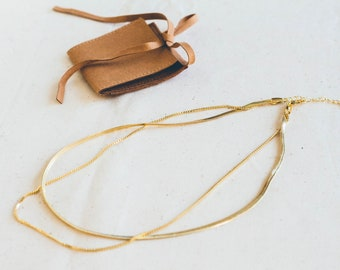 Flat 14k Gold Plated Snake necklace | Trendy gold flat necklace | Flat snake chain necklace gold layered | Herringbone gold necklace