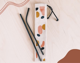 Metal Straw SET OF 2   Eco Friendly and Reusable Straw   Stainless Steel Straws with unique carrying bag