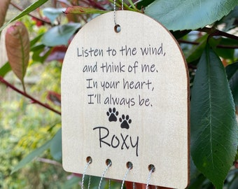 Personalised Wooden Wind chime Pet or Loved One Person Memorial Garden