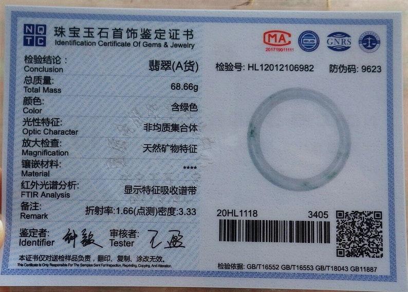 DJade-NEW Certified Natural Green Jade Jadeite Bangle 62mm \u7389\u956f