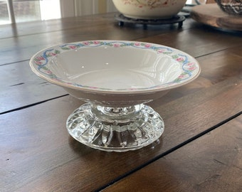 Delicate Ribbons and Flowers with Glass Upcycled Cat Dish/Bowl