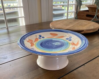 Blue Floral and Swirl Upcycled Cat Dish