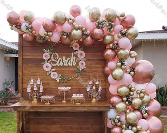 153pcs Baby Pink Chrome Rose Gold Matte White Balloon Garland Arch Kit Wedding Party Decorations Anniversary Thanksgiving Baby Shower Decor
