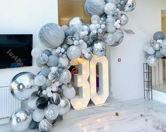 136pcs Matte Gray and Silver Balloon Garland Arch Kit Wedding Decoration Bridal Shower Engagement Birthday Party Baby Shower Decor Supplies