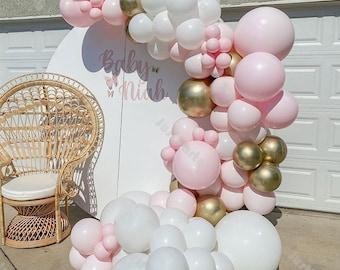 94pcs Macaron Baby Pink Matte White Balloons Garland Arch Kit Wedding Baby Shower Birthday Anniversary Engagement Bridal Shower Decoration