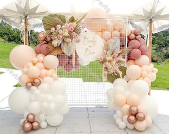 144pcs Dusty Pink Cream Peach Matte White Chrome Rose Gold Balloon Garland Arch Kit Wedding Baby Shower Birthday Party Baptism Decoration