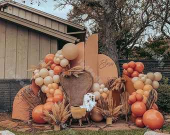 98pcs Doubled Matte Orange Apricot Cream Peach Balloon Garland Arch Kit Halloween Decoration Wedding Baby Shower Birthday Party Decoration