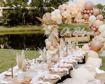 116pcs Cream Peach Matte White Chrome Rose Gold Balloon Garland Arch Boho Wedding Decoration Birthday Party Baby Shower Anniversary Decor